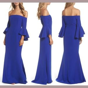 NWT Vince Camuto Off The Shoulder Gown Cobalt Blue